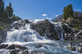 Waterfall in altai look at the second lake driscoll region kucherla lakes Royalty Free Stock Photo