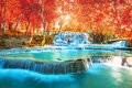 Waterfall in autumn forest, names Royalty Free Stock Photo
