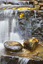 Waterfall with autumn leaves Royalty Free Stock Photo