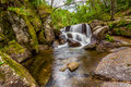 Waterfall during the autumn near queimadela dam in municipality of fafe portugal Royalty Free Stock Photography