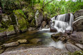 Waterfall during the autumn near queimadela dam in municipality of fafe portugal Stock Photo