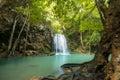 Waterfall beautiful erawan waterfall in kanchanaburi province asia southeast asia thailand Royalty Free Stock Image
