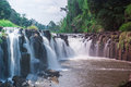 Waterfall and beautiful in laos Stock Images