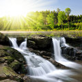Waterfall beautiful in spring landscape Royalty Free Stock Image
