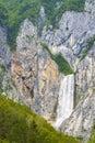 Waterfall Boka near Soca river in Slovenia Royalty Free Stock Photo