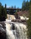 Waterfall  And Bridge At Gooseberry Falls Royalty Free Stock Photo