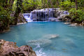 Waterfall and brook stone erawan in kanchanaburi thailand Stock Image