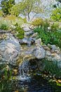 Waterfall california water rocks and green bushes create a serene area in southern Stock Photo