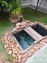 Waterfall carp koi pond garden Royalty Free Stock Photo