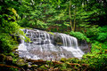 Waterfall cascade in forest over rocks pennsylvania Royalty Free Stock Photos