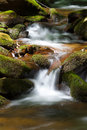 Waterfall cascades through the moss covered rocks of north carolina Stock Images
