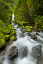 Waterfall in the Columbia River Gorge, Oregon, USA Royalty Free Stock Photo