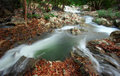 Waterfall creek in summer forest in kanchanaburi thailand Stock Photos