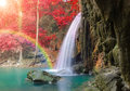 Waterfall in Deep forest at Erawan waterfall National Park Royalty Free Stock Photo