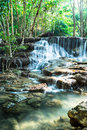 Waterfall in deep forest at huay mae kamin thailand kanchanaburi province Stock Photo