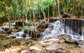 Waterfall in deep forest kanchanaburi thailand tropical Royalty Free Stock Photo