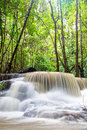 Waterfall in deep rain forest jungle huay mae kamin kanchanaburi province thailand Stock Images