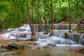 Waterfall in deep rain forest jungle huay mae kamin waterfall i kanchanaburi province thailand Stock Photo