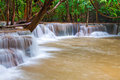 Waterfall in deep rain forest jungle huay mae kamin waterfall i kanchanaburi province thailand Stock Images