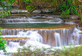 Waterfall in deep rain forest jungle huay mae kamin waterfall i kanchanaburi province thailand Royalty Free Stock Photography