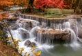 Waterfall in deep rain forest jungle (Huay Mae Kamin Waterfall Royalty Free Stock Photo