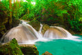 Waterfall at erawan waterfall national park kanjanaburi thailand deep forest Royalty Free Stock Photography