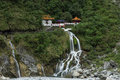 Waterfall and eternal spring shrine at taroko taiwan changchun the national park in Stock Photography