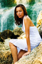 Waterfall Fashion Model Royalty Free Stock Photos