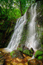 Waterfall in forest beautiful hidden the forests Royalty Free Stock Photos