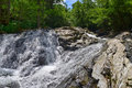 Waterfall forest river primorye russia smolny panorama big size Royalty Free Stock Photography