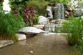 Waterfall garden and tree with stone Stock Images