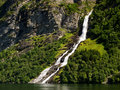 Waterfall in the Geiranger fiord Royalty Free Stock Images