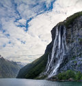 Waterfall of Geiranger fjord Royalty Free Stock Photo
