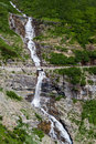 Waterfall in Glacier national park Royalty Free Stock Photo