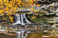 Waterfall and Golden Leaves Royalty Free Stock Photo