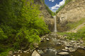 Waterfall and gorge time lapse in a soft motion blur Stock Images