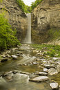 Waterfall and gorge time lapse in a soft motion blur Royalty Free Stock Photography