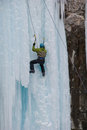 Waterfall Ice Climbing Stock Photo