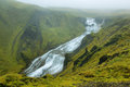 Waterfall in iceland little the way to lakagigar highlands Royalty Free Stock Image