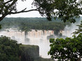 Waterfall at iguassu falls flood swollen river leading to famous on border between brazil and argentina Royalty Free Stock Image