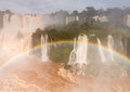 Waterfall at iguassu falls flood swollen river leading to famous on border between brazil and argentina Stock Image