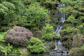 Waterfall at Japanese Garden Stock Image
