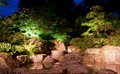 Waterfall japanese garden in at night Royalty Free Stock Photos