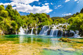 Waterfall In Krka National Park -Dalmatia, Croatia Royalty Free Stock Photo