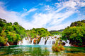 Waterfall in krka national park is one of the croatian nature river Stock Photos