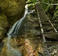 Vodopád s rebríkom v kaňone