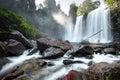 Waterfall Landscape Panorama. ...