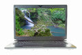 Waterfall on laptop screen beautiful Stock Image