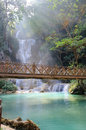 Waterfall with light beam in luang prabang lao deep forest Royalty Free Stock Photos
