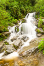 Waterfall on machay river vertical in mountain close to banos ecuador Royalty Free Stock Image
